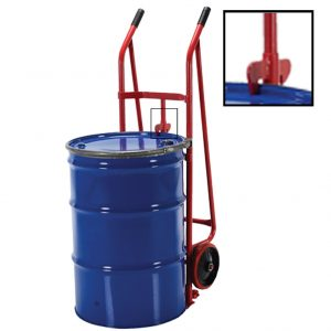 Transport cart for barrels 300 ST with clamping hook. The picture shows how the drum is attached to the cart.