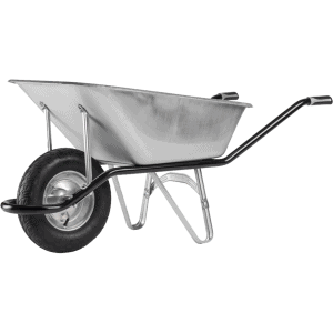 Строителна количка DJTR 120 HM CARGO EXCELLIUM - общ изглед: поцинковано корито от стоманена ламарина, тръбна рамка, едно пневматично колело.