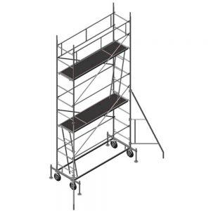 Мобилно скеле DT 250 / 60 с две работни платформи във височина и укрепващи елементи за стабилност на конструкцията.