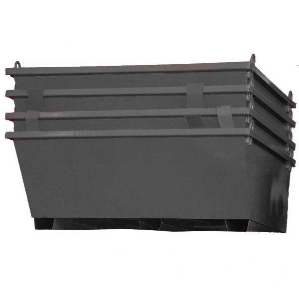 Показано е как ваните за строителни отпадъци се поставят една в друга за пакетиране и лесен транспорт