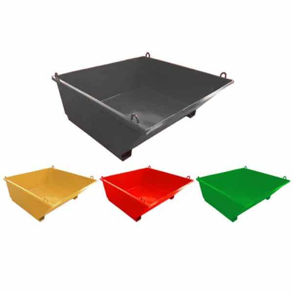 Вани за строителни отпадъци в различни цветове с цел лесно сортиране на отпадъци.