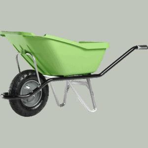 Строителна количка DJTR 110 CARGO PICK UP HM зелена - общ изглед: зелено полипропиленово корито, стоманена тръбна рамка, едно ходово колело.