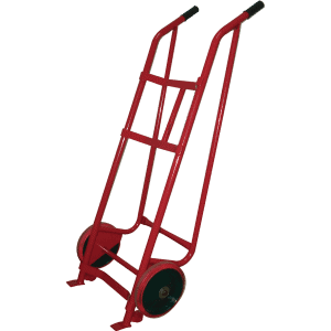 Transport cart for barrels 300 ST has two hard and two auxiliary wheels and a steel frame.