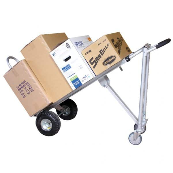 Транспортна количка DJTR 350 AL – трипозиционна. На снимката е показан транспорт на товари при 45 градуса на количката.