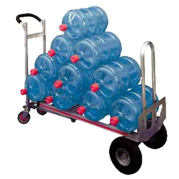 Транспортна количка DJTR 350 AL – трипозиционна. На снимката - приложение на платформена количка натоварена с туби с вода.
