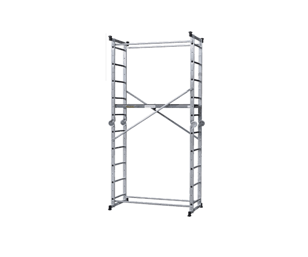 "Aluminum scaffolding ""Multi 5 in 1"" with upright sides of the scaffold provides a maximum working height of 3.90 m."