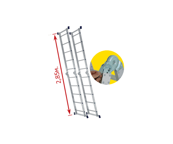 "Aluminum scaffolding ""Multi 5 in 1"". The picture shows its use as a ladder thanks to its auto-locking hinges."