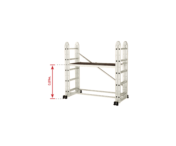 "Aluminum Scaffolding ""Multi 5 in 1"" re-built for interior use with folded sides, mounted reinforcing elements and platform height 0.89 m."