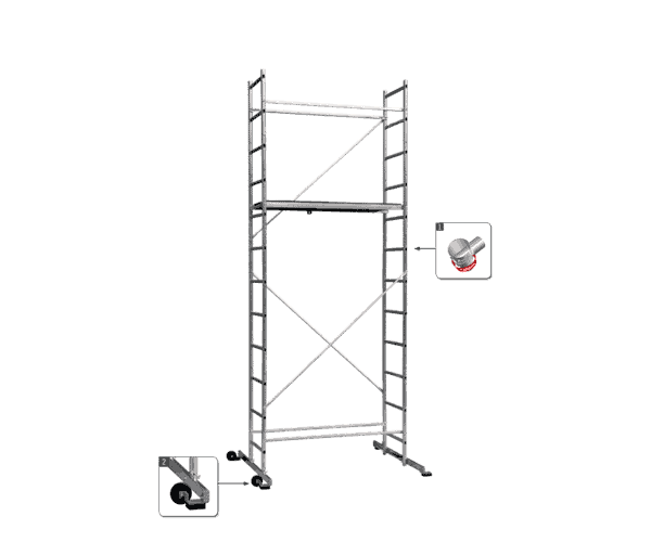 Aluminum scaffolding Sten H - a common view of the facility with one work area and a working height of 4.70 m.