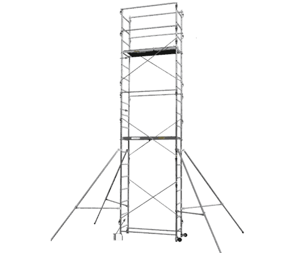 "Aluminum scaffold ""Sten Up"" has a working height of up to 6.70 m and a load capacity of 150 kg / m2. It is easy to assemble, has four corner supports and wheels for movement."