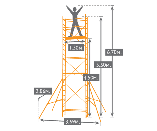 "Drawing of an aluminum scaffolding ""Sten Up"" with the overall dimensions of the structure."