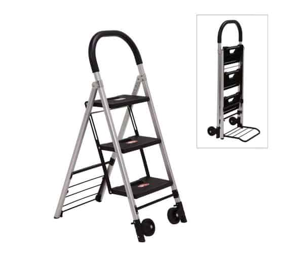 Transport cart / ladder DJTR 120 -  the two functions are shown: a ladder unfolded for functionality and folded to a transport cart.