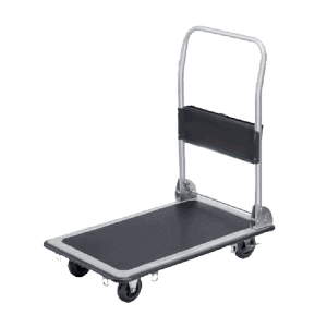 Platform cart K2-300kg is driven by 4 pcs. wheels of two of which have brakes. The platform is sturdy with anti-slip coating.