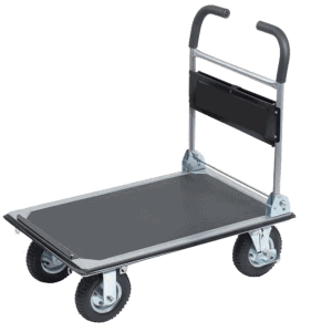 Platform cart K3M 300 kg has a sturdy platform with no sliding cover, four pcs. wheels, 6pcs. safety belt brackets.
