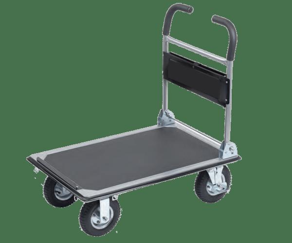 Platform cart K3M 300 kg has a sturdy platform with no sliding cover, four pcs. wheels, 6pcs. safety belt brackets.