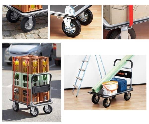 Платформена количка К3М 300 кг за пренос на тежки товари. Лесно се управлява, две от колелата имат спирачки, товара може да осигури с закрепващи колани.