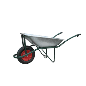 Wheelbarrow DJTR 085 RK has a capacity of 85 l, the frame is a non-detachable tubular structure. A tray is mounted on it, and a wheel and tipping bar has been on the front.