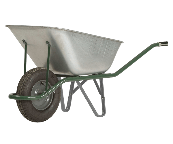 Wheelbarrow DJTR 120 - a hand trolley  with a tubular frame, a galvanized tray with two props, two handles and a guide wheel.