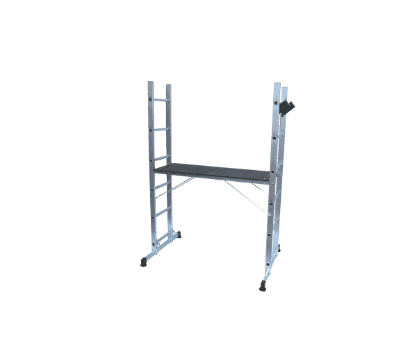 Aluminum scaffold 3 in 1 with two stairs for side supports, a horizontal platform between them and reinforcing elements.