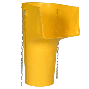 Hopper chute for construction waste - its shape prevents the waste from falling out of it.