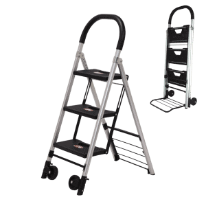 Transport cart / ladder DJTR 120 is represented by its two functions: folded to a trolley and unfolded as a ladder.