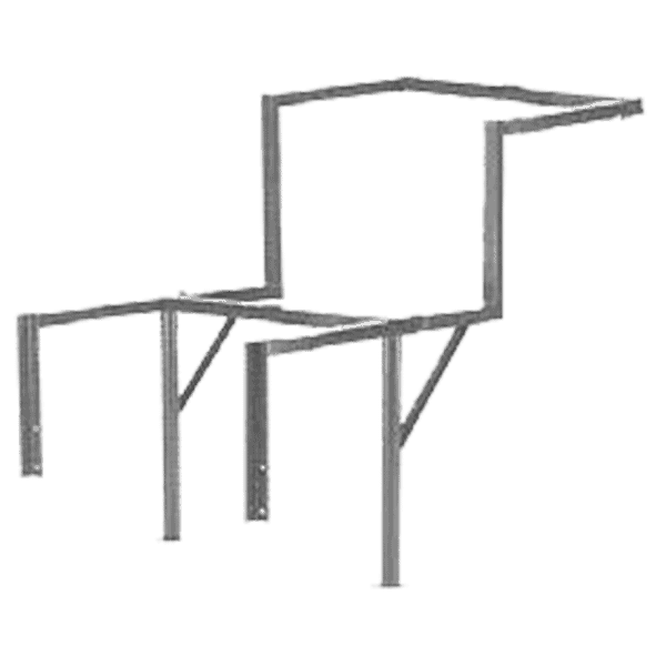 Frame for a construction waste system made of steel angled profile for gripping chutes.