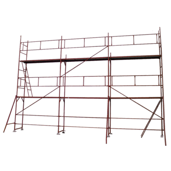 Facade scaffolding GD 42/48, complete view. Protective parapets, struts, diagonals, ladder, work platform.