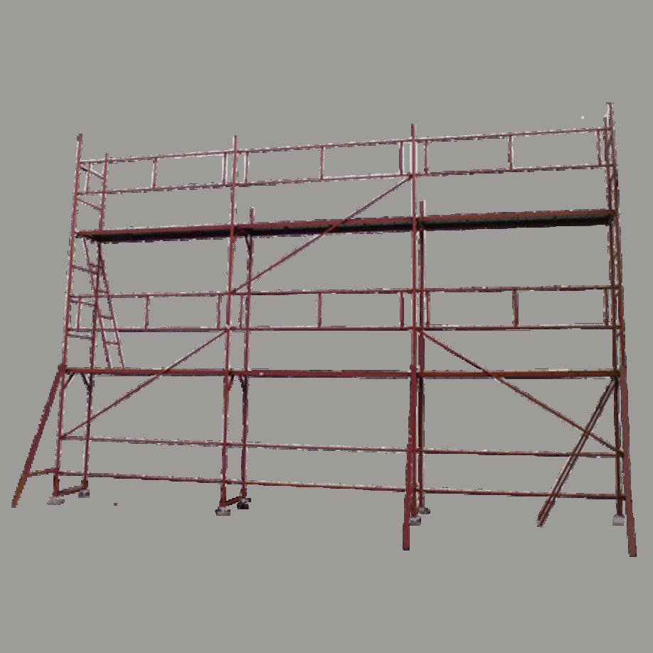 Фасадно скеле GD 42/48, цялостен изглед. Предпазен парапет, подпори, диагонали, стълба, работна платформа.