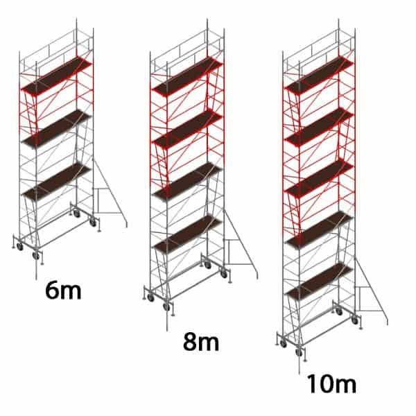 Mobile scaffolding DT 250/60 with different number of upgrades to reach the desired working height.