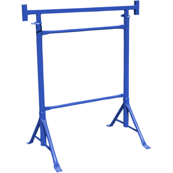 Trestle with fixed legs and adjustable height, blue color.
