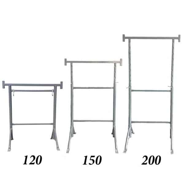 Trestle with fixed legs and height adjustment. It shows the height of the scaffold at 120 cm, 150 cm, 200 cm.