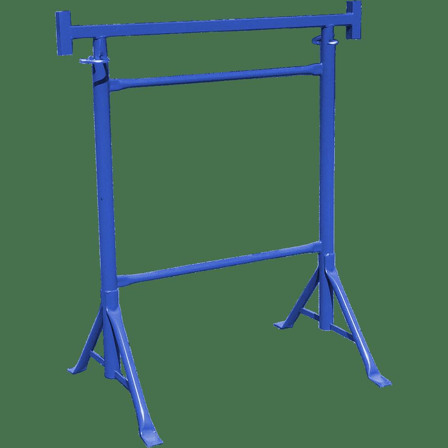 Строително скеле с фиксирани крака и възможност за регулиране на височината, син цвят.