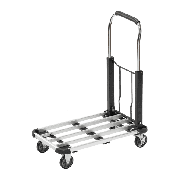 Алуминиева платформена количка - Meister има здрава оребрена платформа.