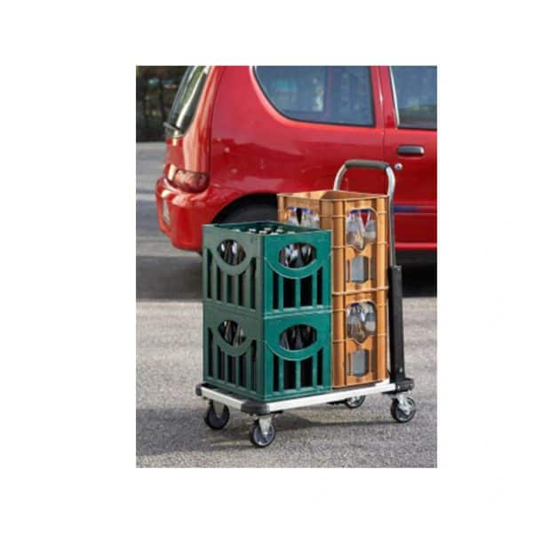 Aluminium platform cart in use for household or for supply - transfer of plastic boxes