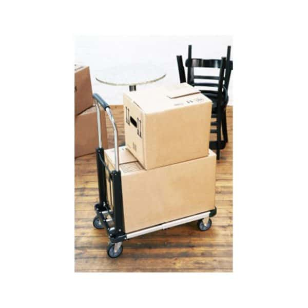 Aluminium platform cart can be used at the luggage store. Shifting cartons is shown.
