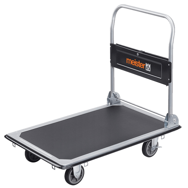 Platform cart K2-300 - general view: platform, 4pcs. wheels, tube handle