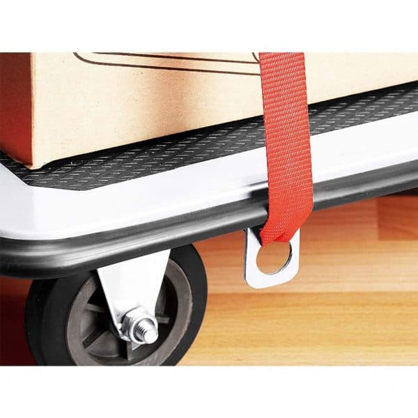 Platform cart K2-300 and special holes for fastening security belts.