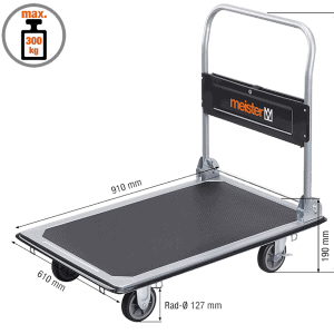 Platform cart K2-300 with dimensions.