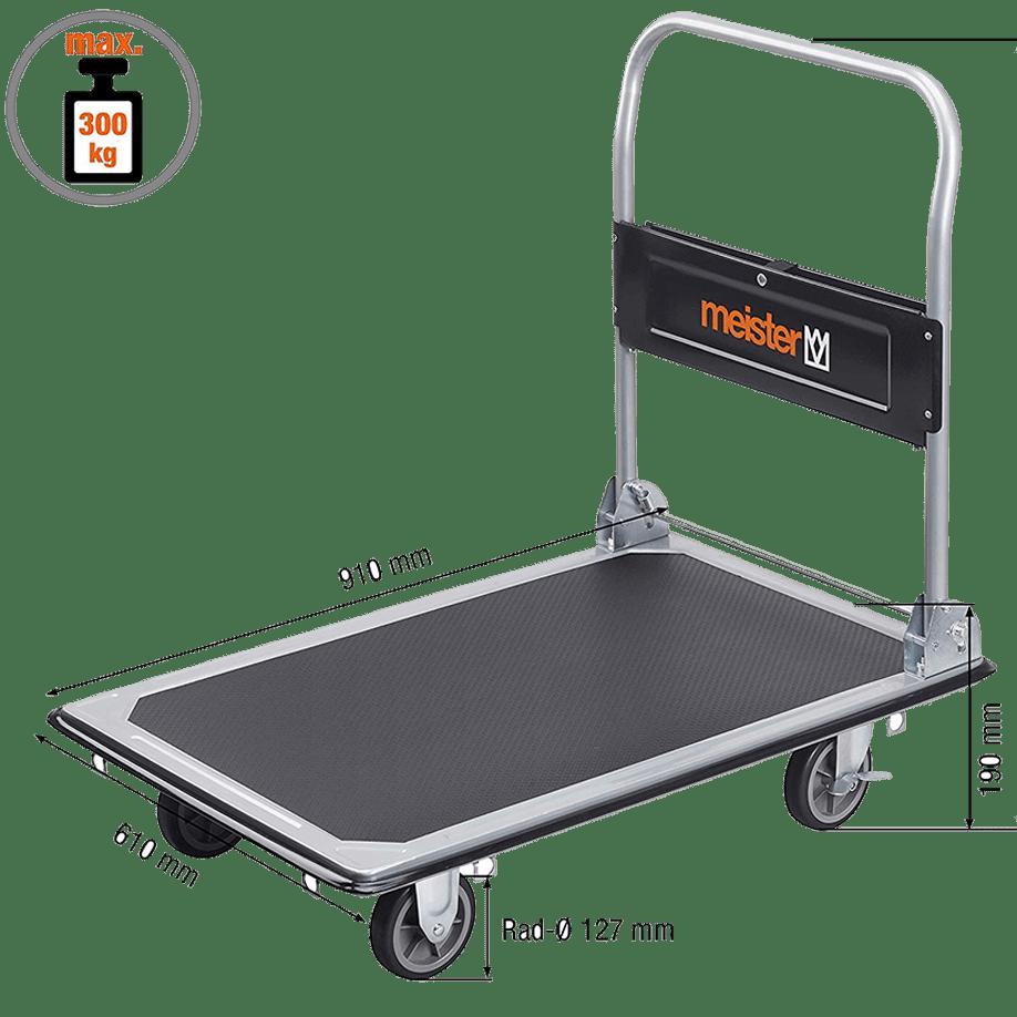 Платформена количка K2-300 с нанесени размери.