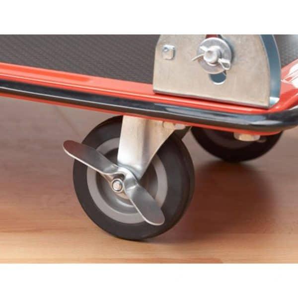 Платформена количка K1-150 има 4 бр. ходови колела и от тях 2бр. са със спирачка.