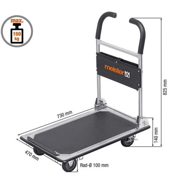 Платформена количка K2M-150 с размери - нанесени важните размери на снимката.