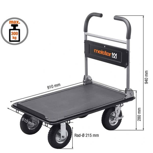 Platform cart K3M-300 a common vision of the product and its dimensions.