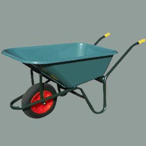 Градинска количка DJTR 100 - общ изглед: транспортно колело, стоманена рамка, пластмасово корито, гумирани ръкохватки.