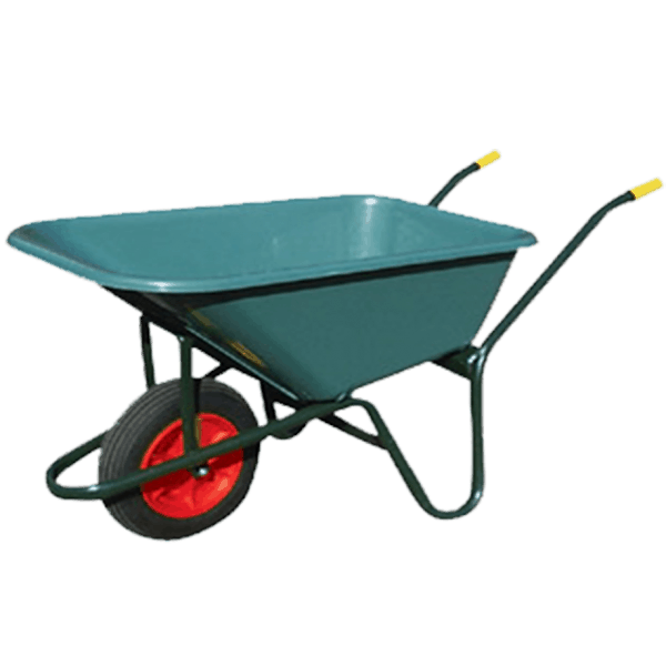 Garden wheelbarrow DJTR 100 - general view: transport wheel, steel frame, plastic tray, rubberized handles.
