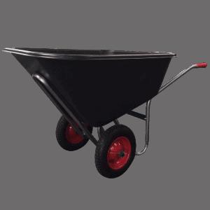 Градинска количка DJTR 160 - общ изглед. Вижда се стоманената рамка, пластмасово корито, гумирани ръкохватки и 2бр. транспортни колела.