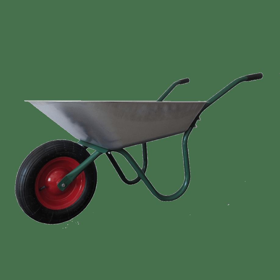 Строителна количка DJTR 070 RK - общ изглед: тръбна рамка, метално корито, гумирани ръкохватки, пневматично колело.