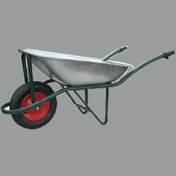 Строителна количка DJTR 085 RK - основен изглед: тръбна стоманена рамка, поцинковано корито, метален мост, който свързва коритото с пневматичното колело.