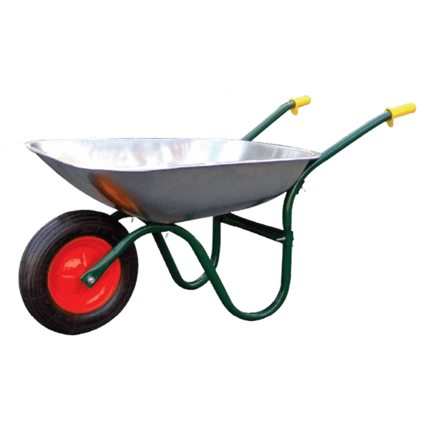 Construction wheelbarrow DJTR 085 - General view: Tube frame. metal, galvanized trough, pneumatic running wheel.