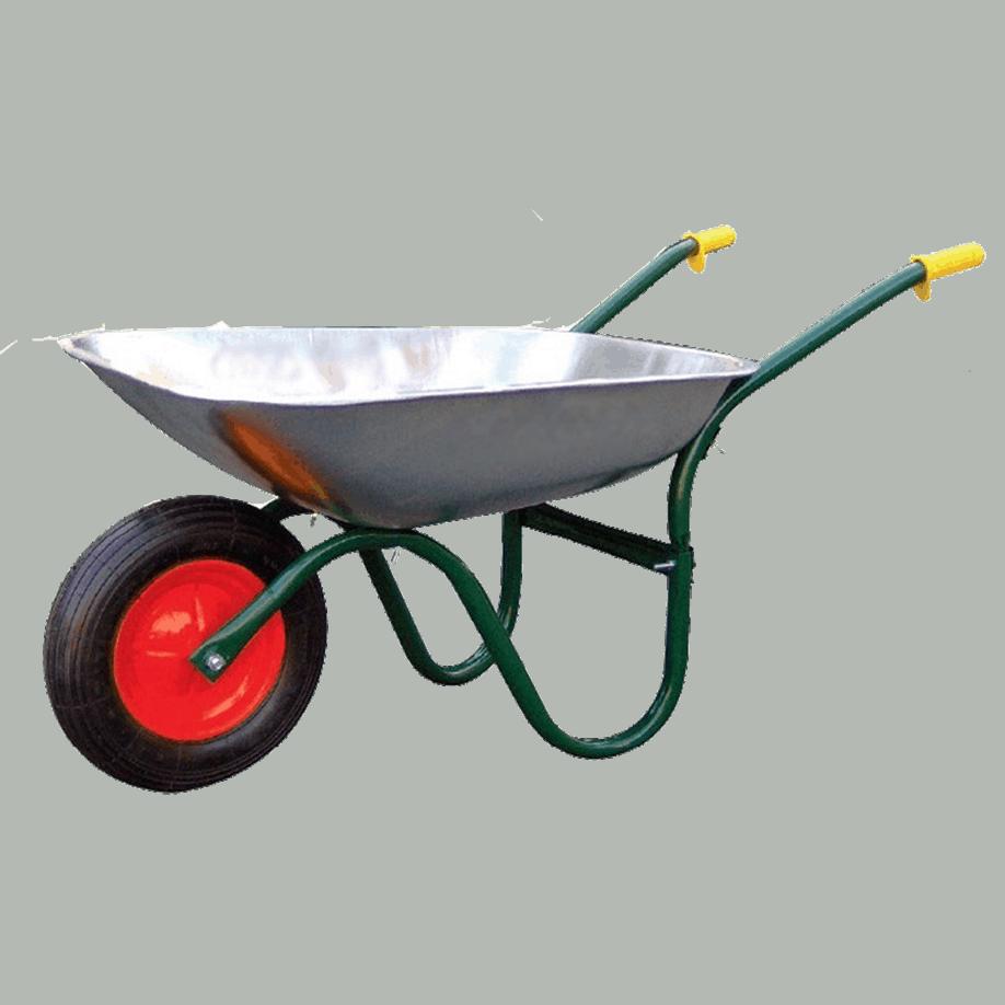 Строителна количка DJTR 085 - общ изглед: тръбна рамка. метално, поцинковано корито, пневматично ходово колело.