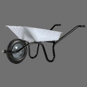 Строителна количка DJTR 090 HM - общ изглед: монолитна рамка, поцинковано корито, пневматично ходово колело